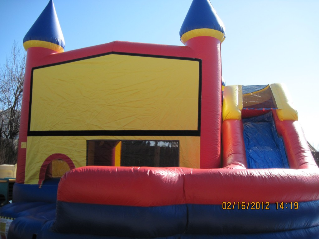 Castle Combo with Wrap Around Slide (Wet or Dry) with Basketball Hoop Inside!!! $195.00 All Day!!! 18 wide 22 Deep 15 High