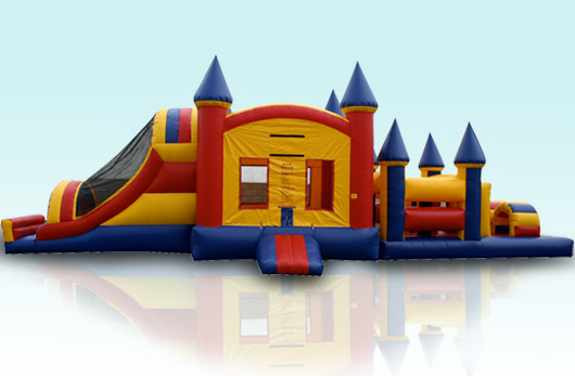 55 ft Castle Combo with obstacle Course $275.00 All Day 55 Long 15 Ft Wide 14 High